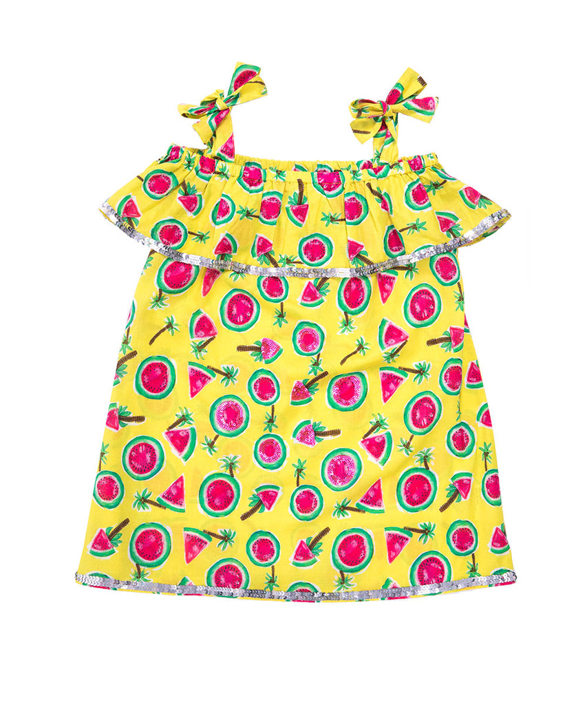The Mini Watermelon Off The Shoulder Dress by Bonita Bambino