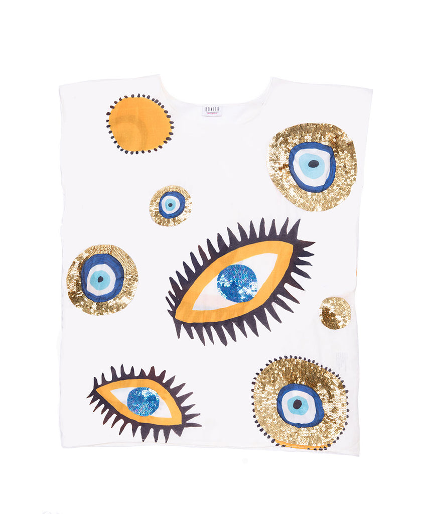 The Mini White Evil Eye Kaftan by Bonita Bambino