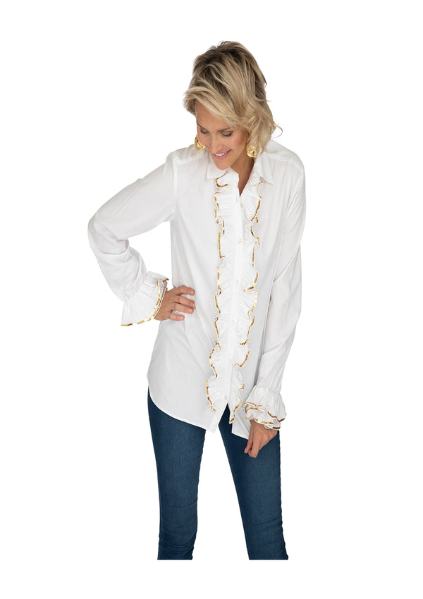 White Ruffle Shirt by Bonita Collective
