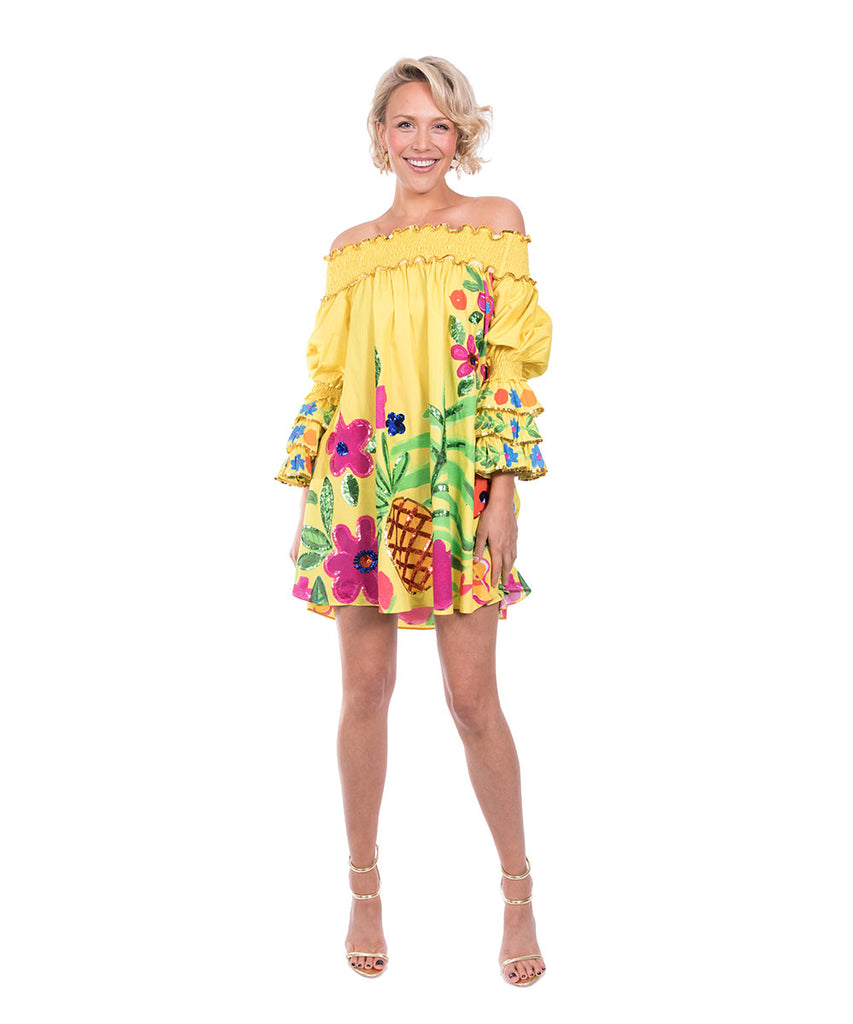 The Yellow Tropical Valley Ruffle Top by Bonita Kaftans