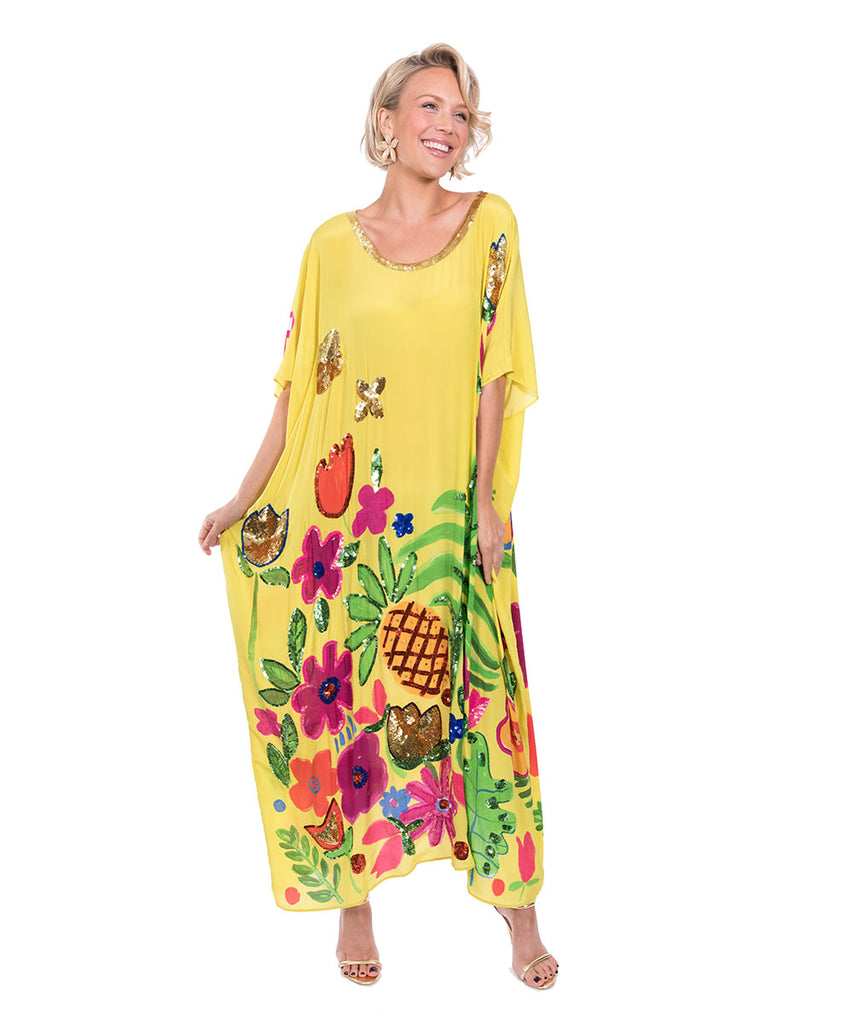 The Yellow Tropical Valley Kaftan by Bonita Kaftans