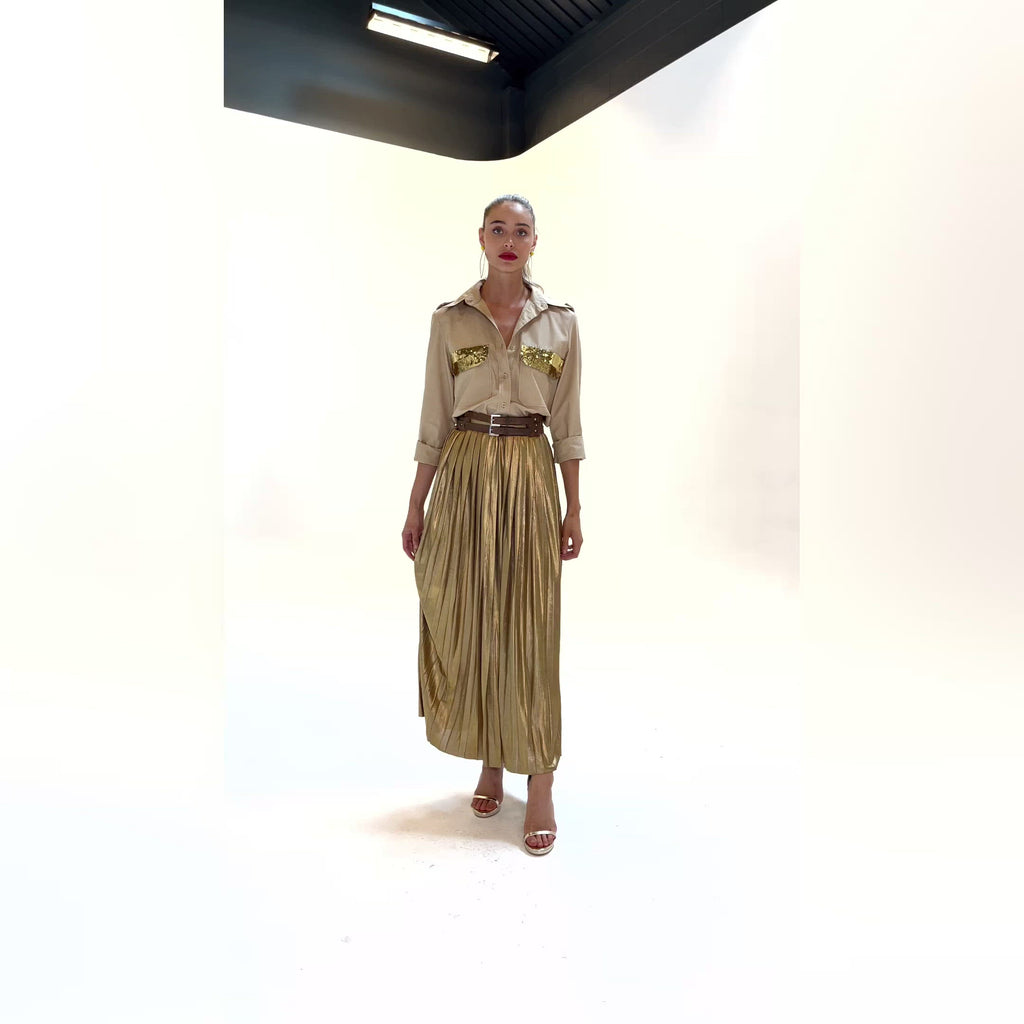 The Golden Pleated Skirt by Bonita Collective