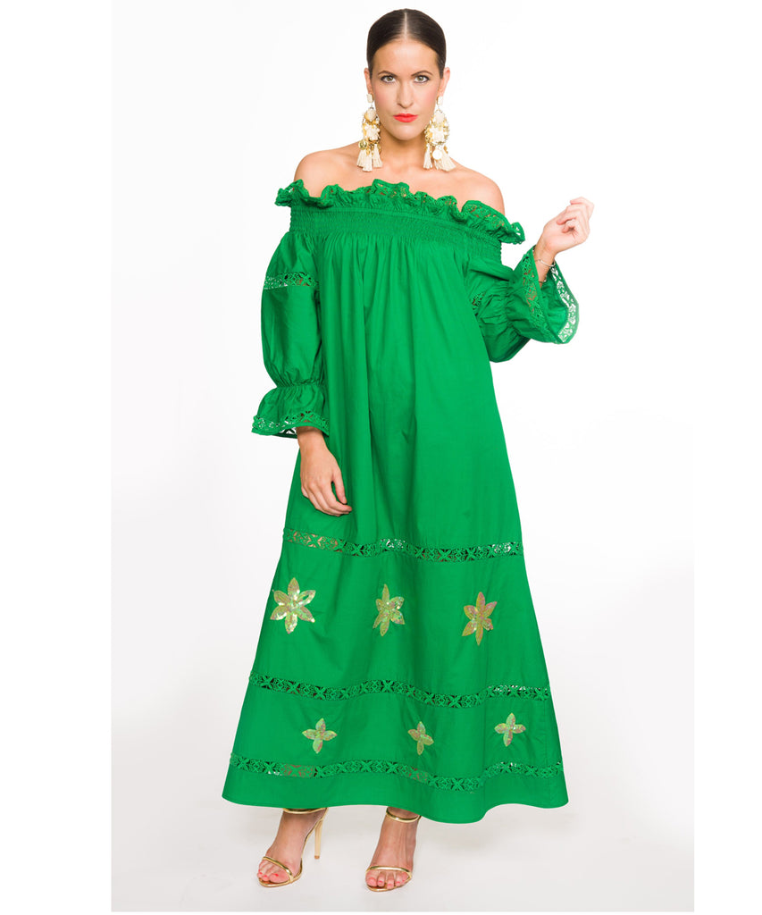 The Green Summer's Night Off The Shoulder Dress