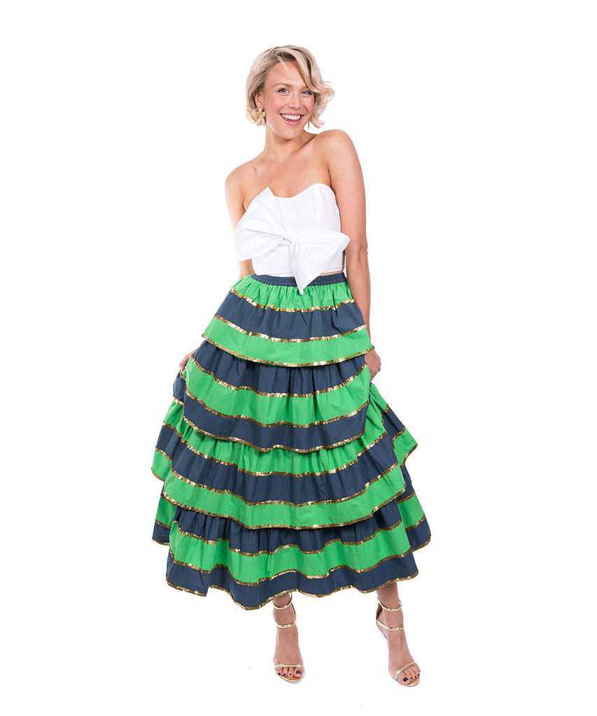 The Navy and Green Imperial Ruffle Skirt by Bonita Kaftans
