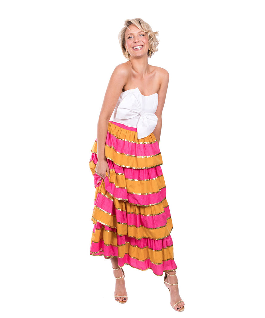 The Pink and Yellow Imperial Ruffle Skirt