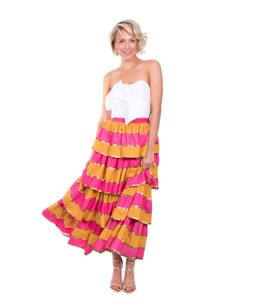 The Pink and Yellow Imperial Ruffle Skirt by Bonita Kaftans