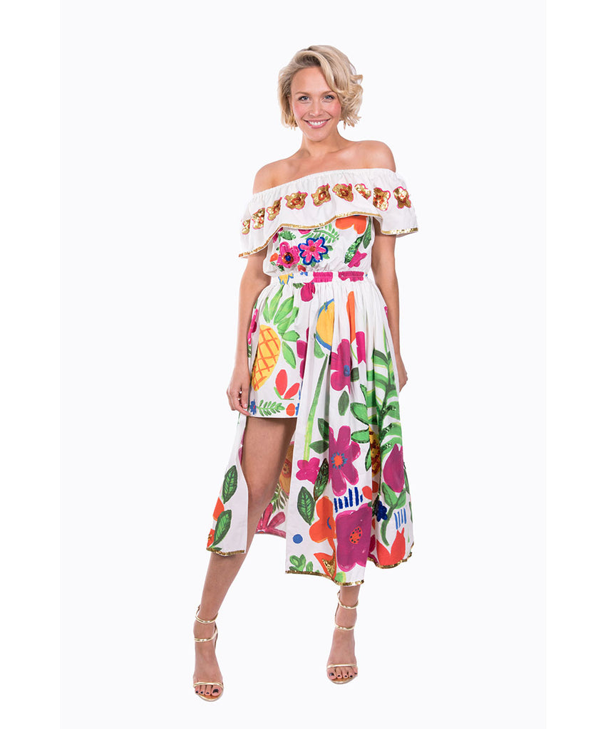 The White Tropical Valley Playsuit by Bonita Kaftans