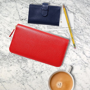 Flat Lay 72 Smalldive Corporate Gift Wallets in Red and Blue