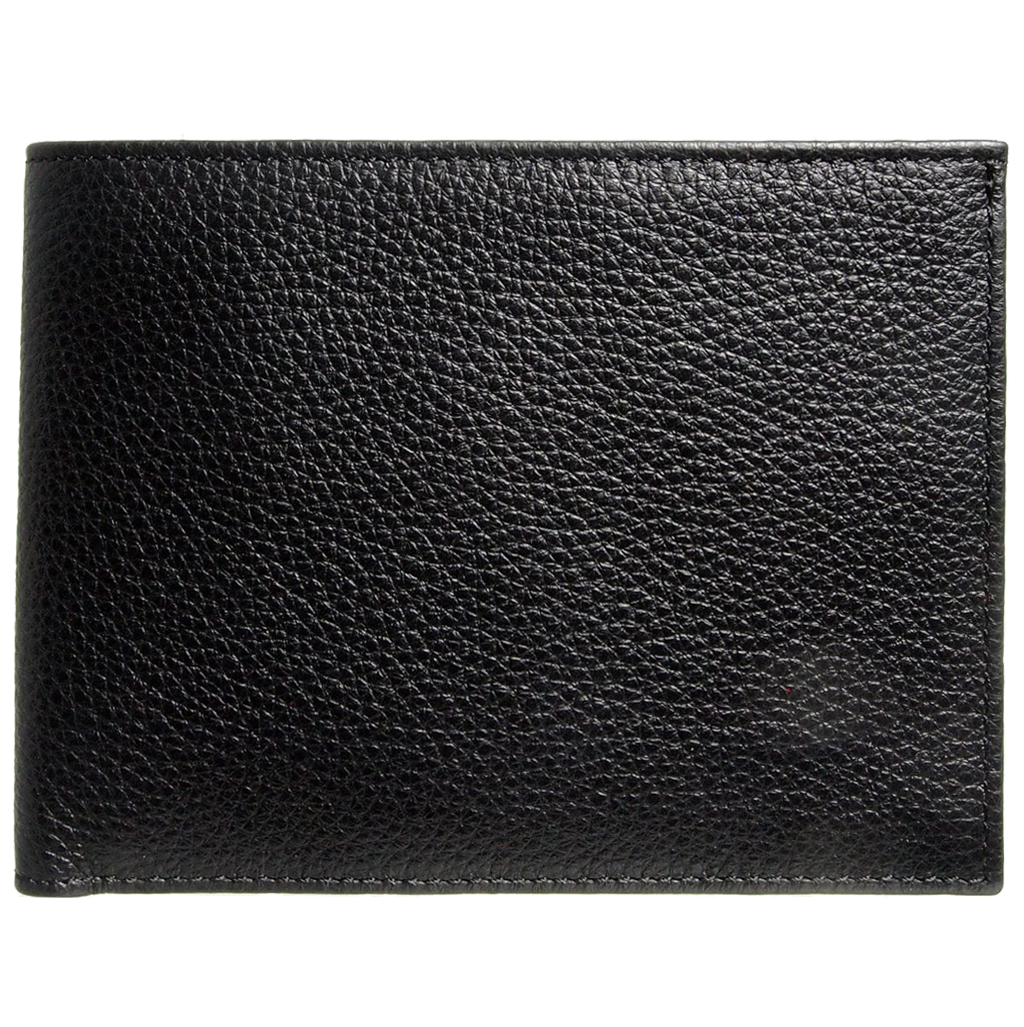 12 Credit Card Pebbled Leather Billfold Black-Mens Wallets-72 Smalldive