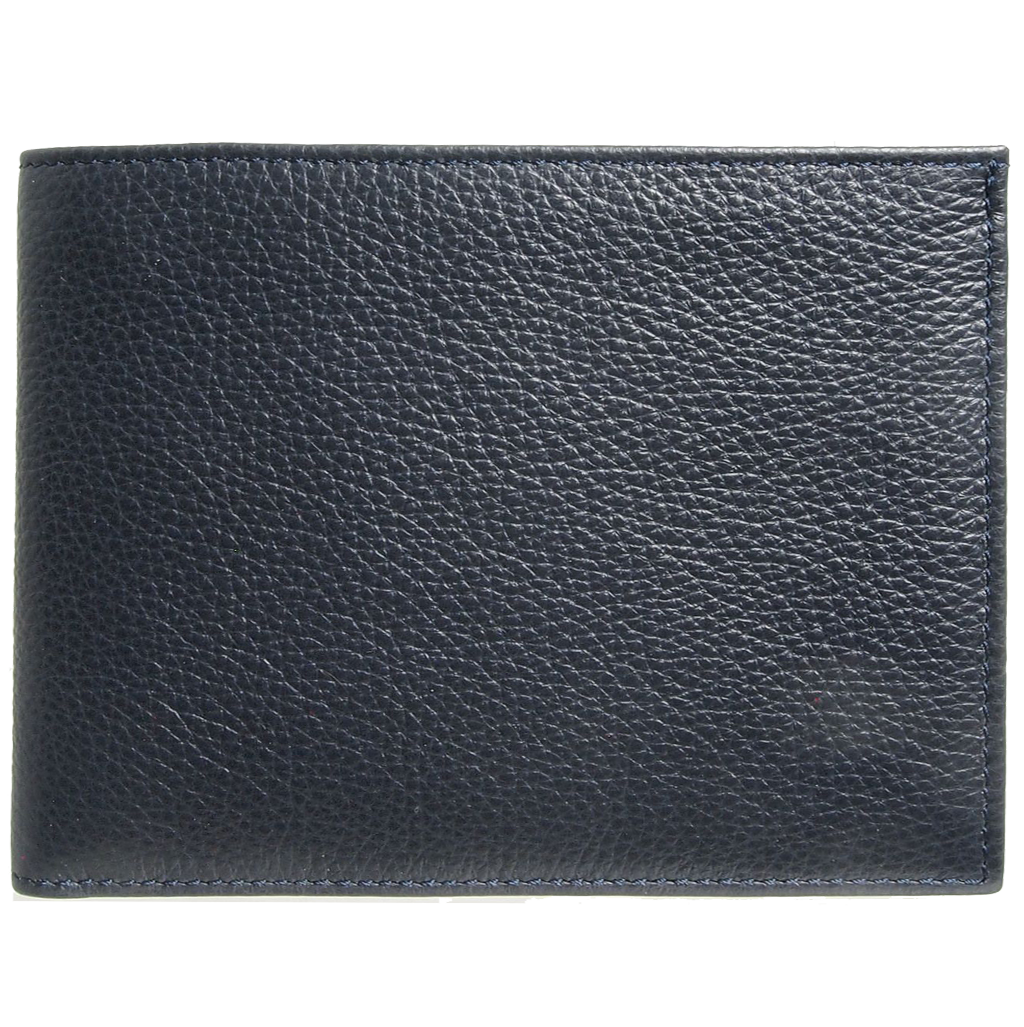 12 CC Grained Calf Leather Billfold Blue-Mens Wallets-72 Smalldive