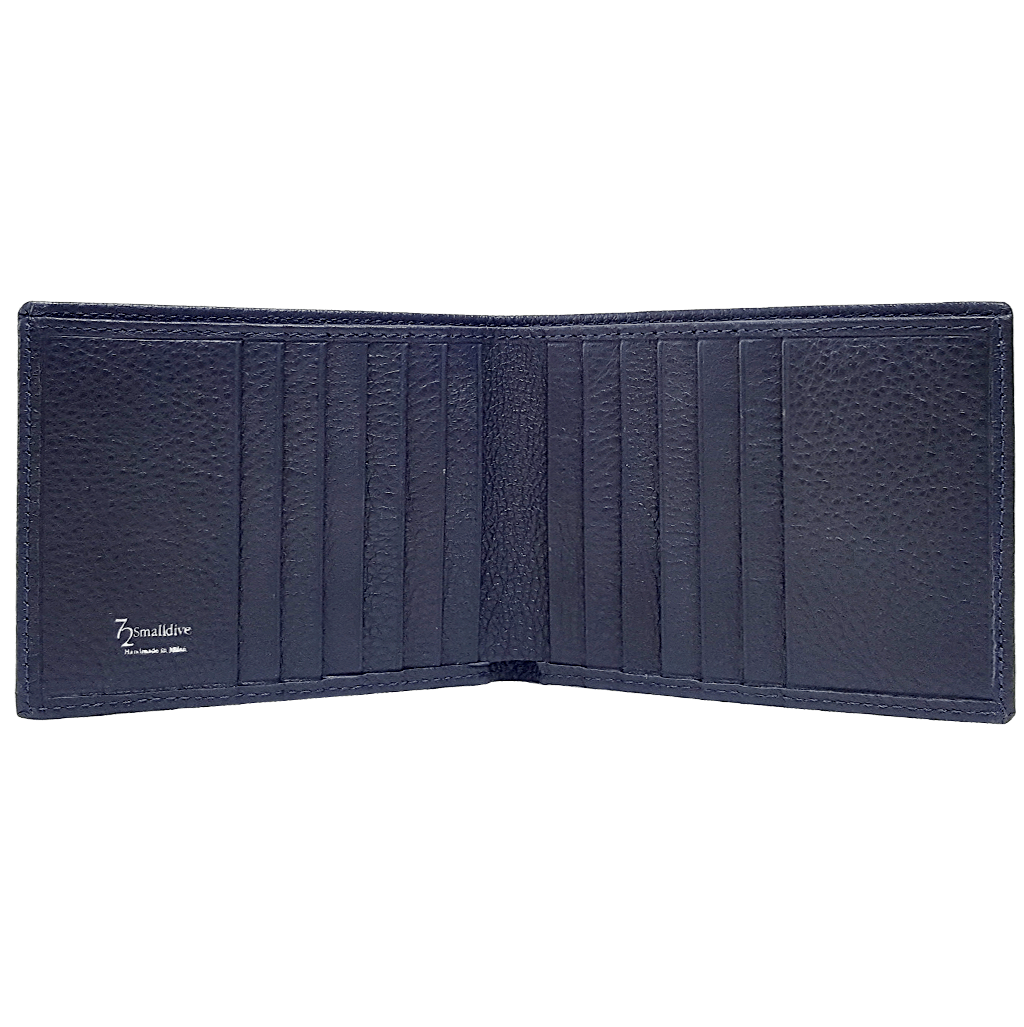 10 Credit Card Pebbled Leather Billfold Blue-Mens Wallets-72 Smalldive