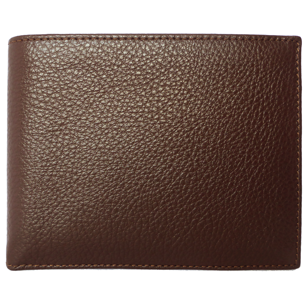 10 Credit Card Pebbled Leather Billfold Brown-Mens Wallets-72 Smalldive