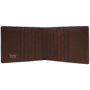 12 Credit Card Pebbled Leather Billfold Brown-Mens Wallets-72 Smalldive