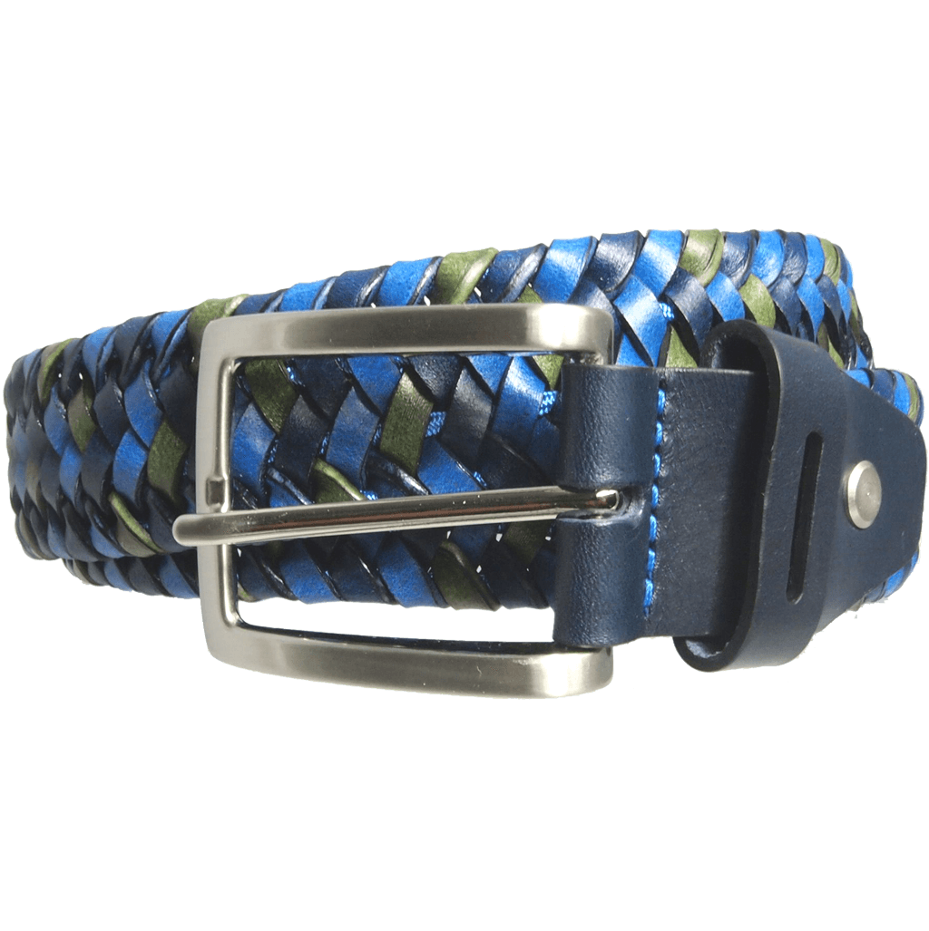 34 mm Tri-Color Elastic Weave Belt Blue-Mens Belts-72 Smalldive