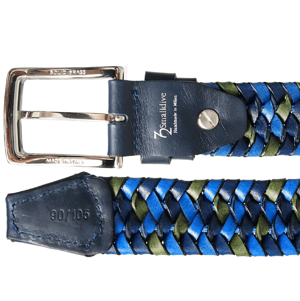 34 mm Tri Color Elastic Weave Belt Blue-Mens Belts-72 Smalldive