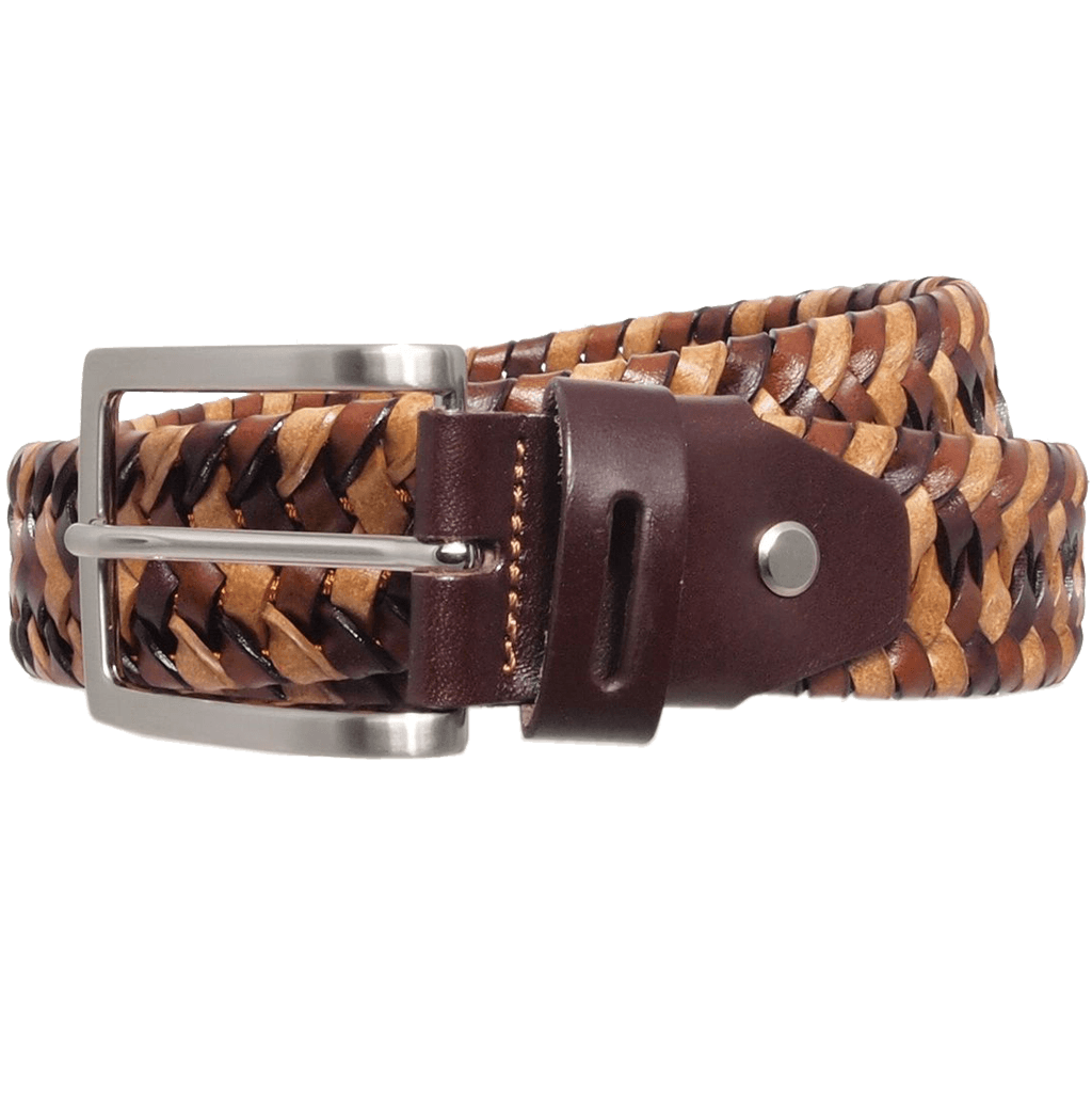 34 mm Tri-Color Elastic Weave Belt Brown-Mens Belts-72 Smalldive