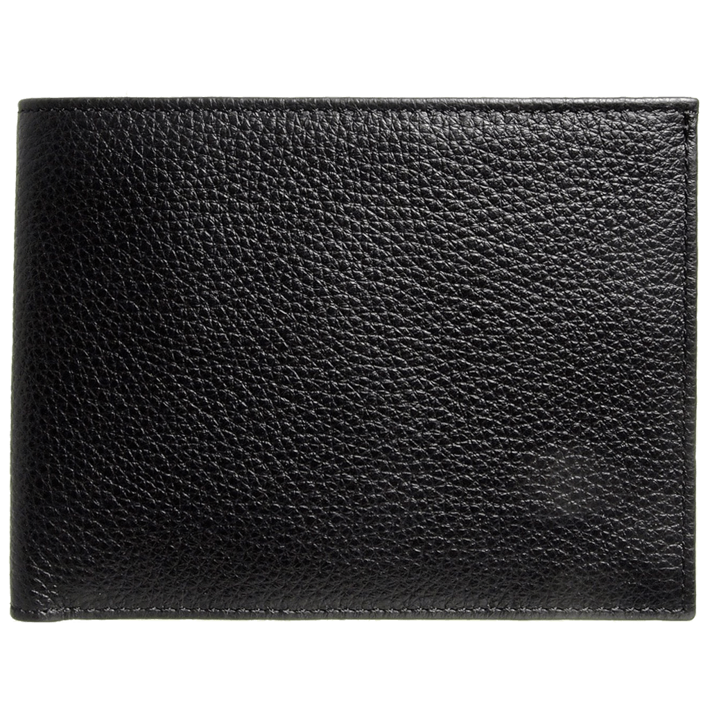 8 Credit Card Pebbled Leather Billfold Black-Mens Wallets-72 Smalldive