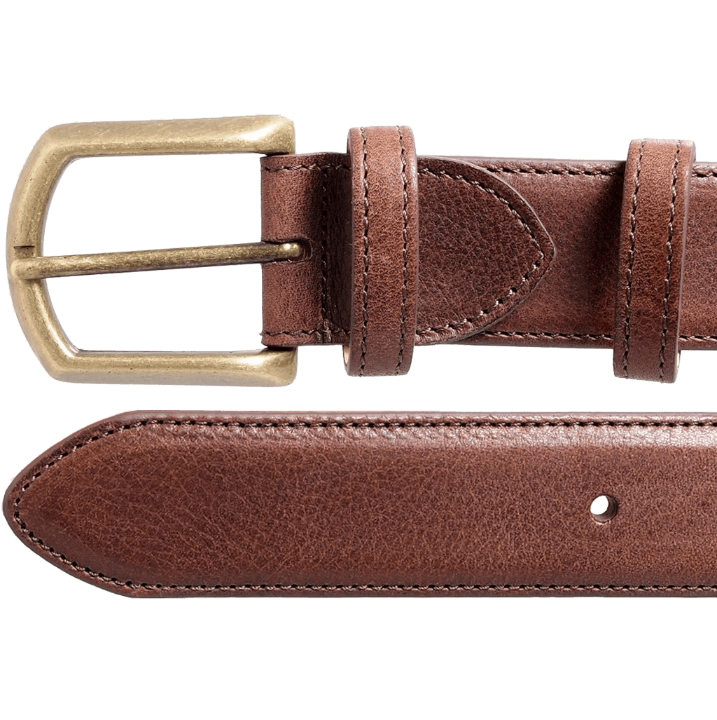 34 mm Antique Buckle Leather Belt Brown-Mens Belts-72 Smalldive