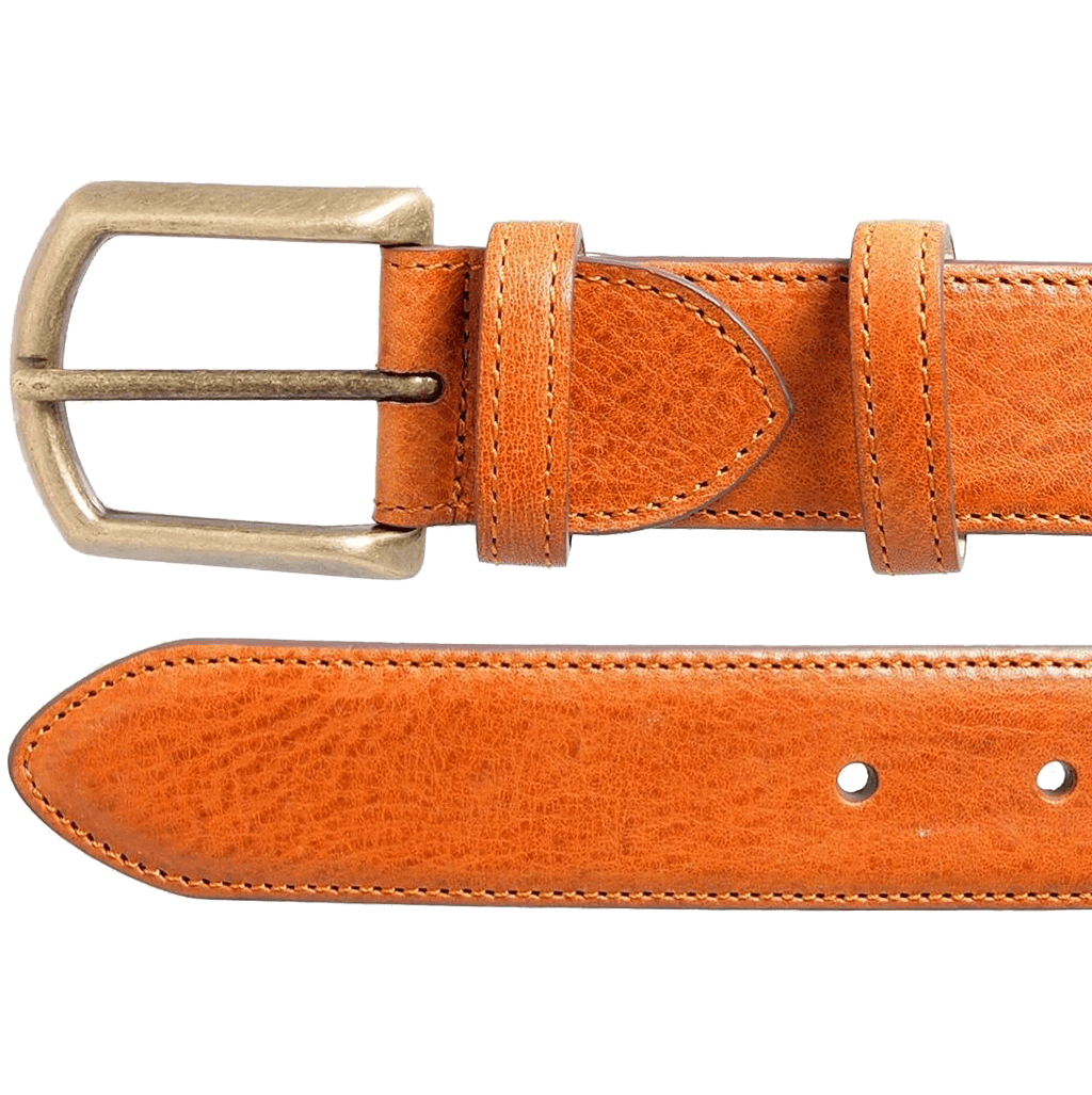 35mm Antiquated Full Grain Leather Belt Tan-Mens Belts-72 Smalldive