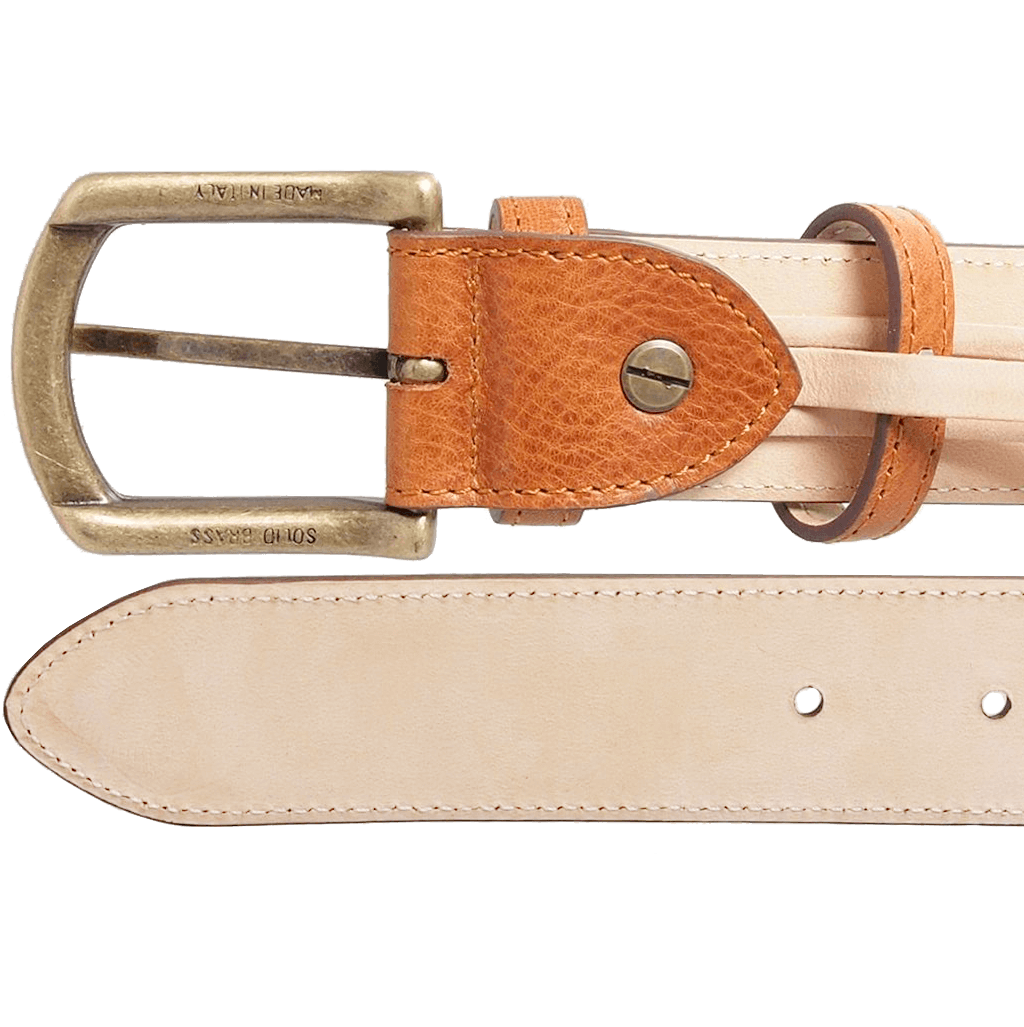 34 mm Antique Buckle Leather Belt Tawny-Mens Belts-72 Smalldive