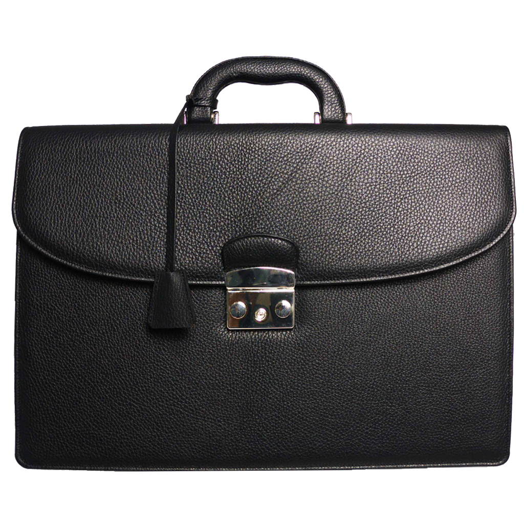 Pebbled Leather Briefcase Black-Bags-72 Smalldive