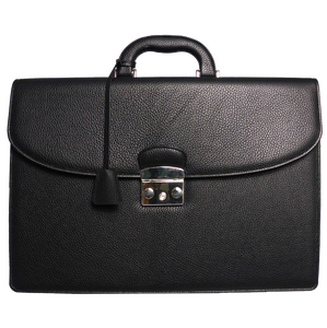 Pebbled Leather Briefcase Black-Briefcase & Totes-72 Smalldive