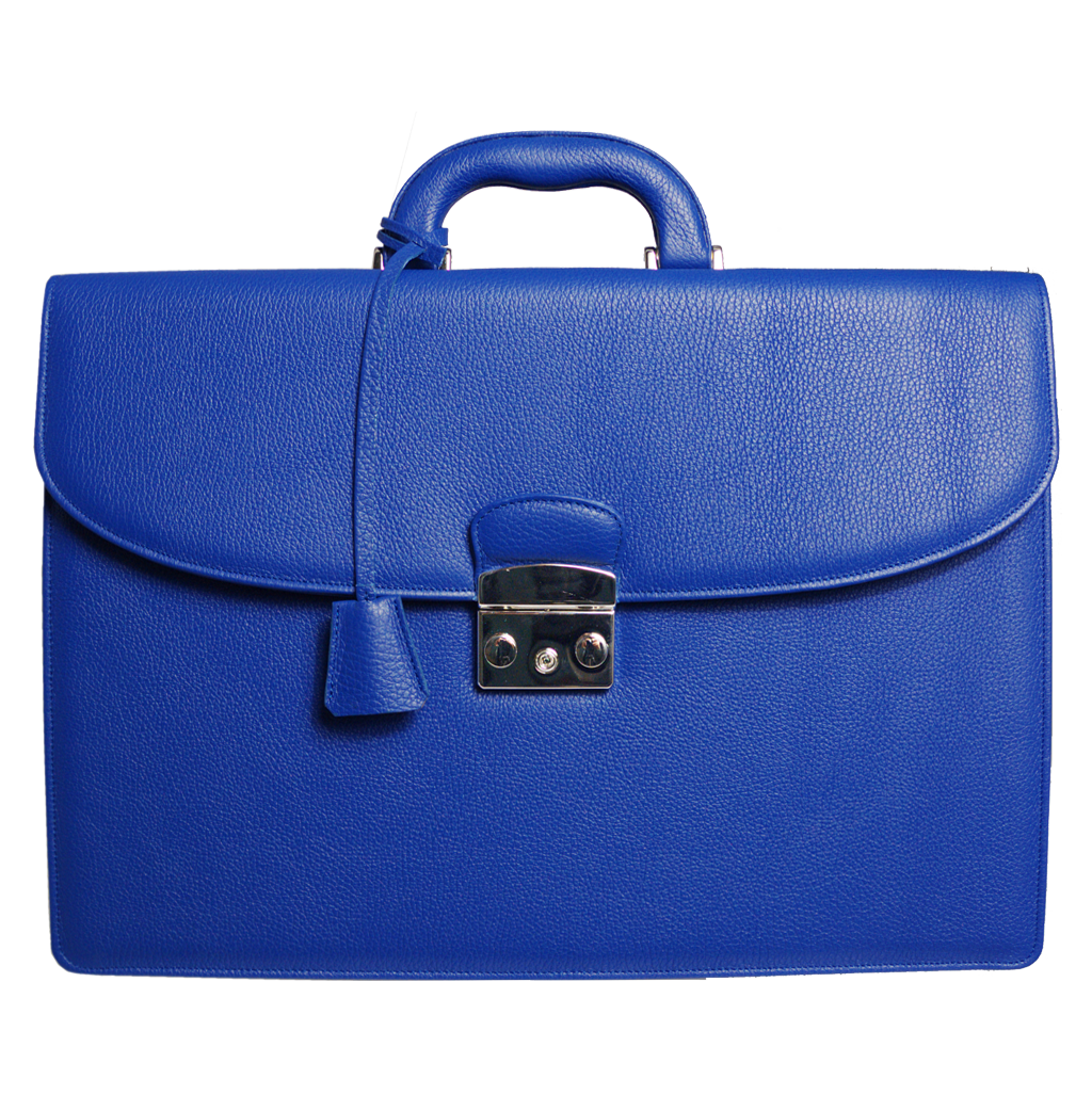Pebbled Leather Briefcase Blue-Bags-72 Smalldive