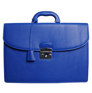 Pebbled Leather Briefcase Blue-Briefcase & Totes-72 Smalldive