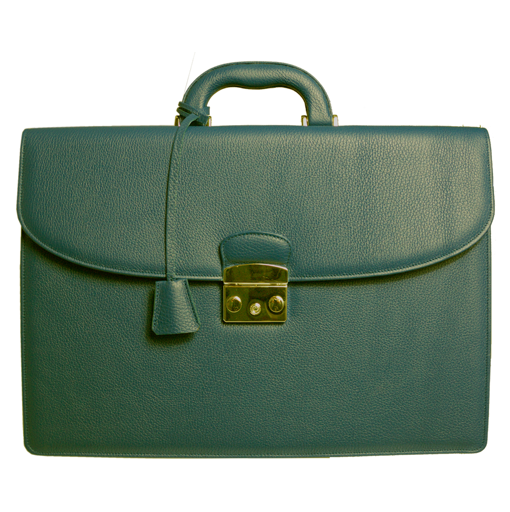 Pebbled Leather Briefcase Olive-Bags-72 Smalldive