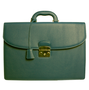 Pebbled Leather Briefcase Olive-Briefcase & Totes-72 Smalldive