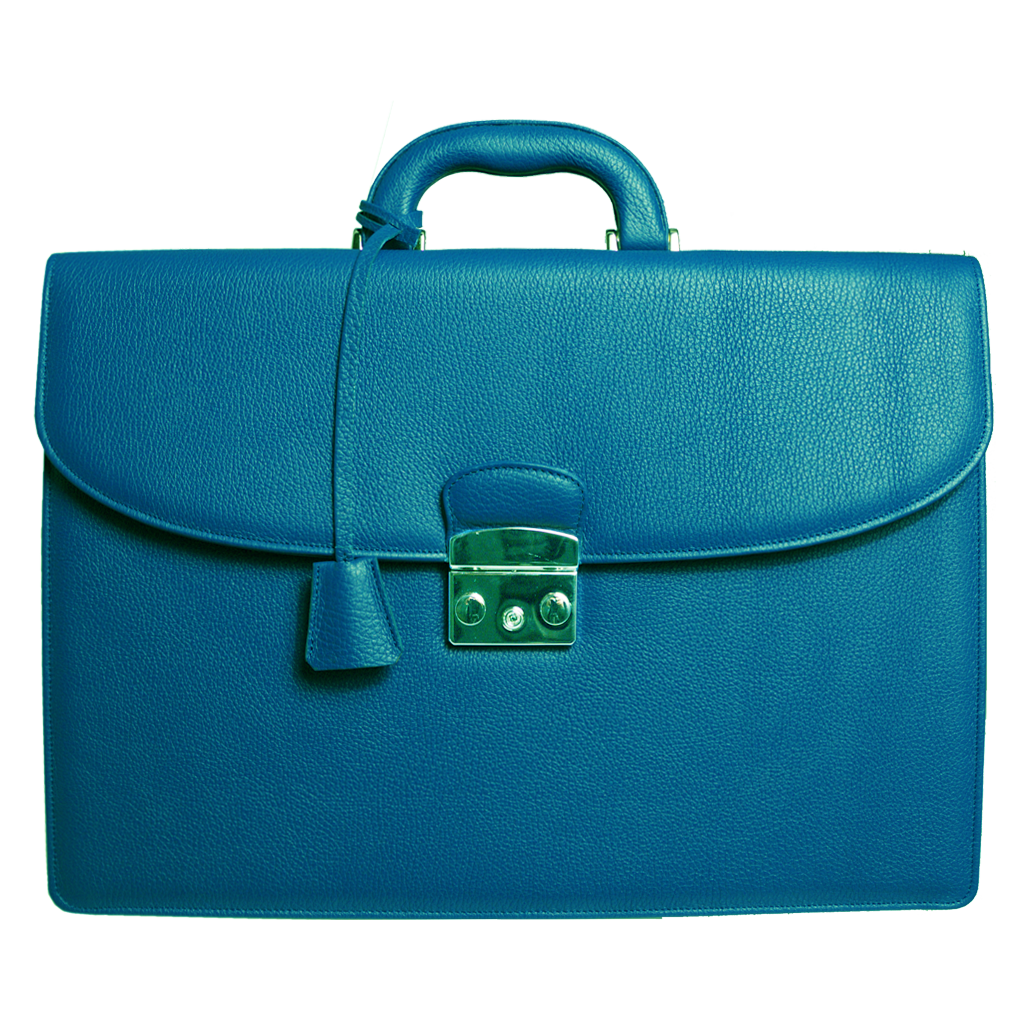 Pebbled Leather Briefcase Teal-Bags-72 Smalldive