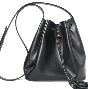 Buffed Leather Bucket Tote Black-Handbag-72 Smalldive