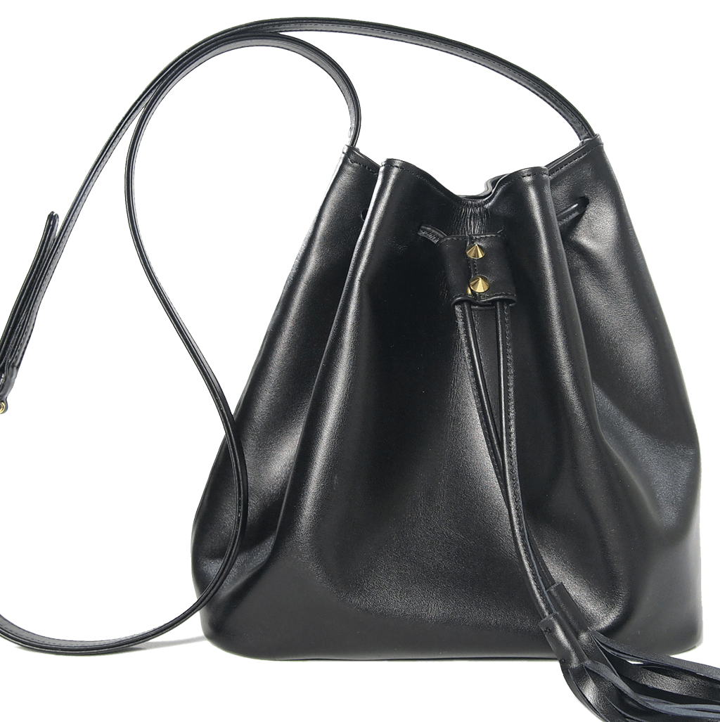 Buffed Calf Leather Bucket Tote Black-Handbag-72 Smalldive