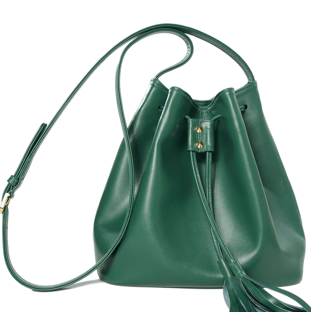 Buffed Calf Leather Bucket Tote Emerald - 72 Smalldive
