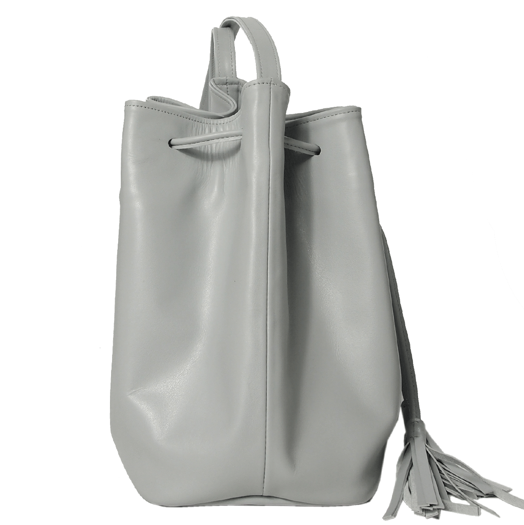 Buffed Leather Bucket Bag Pumice-Crossbody Handbag-72 Smalldive