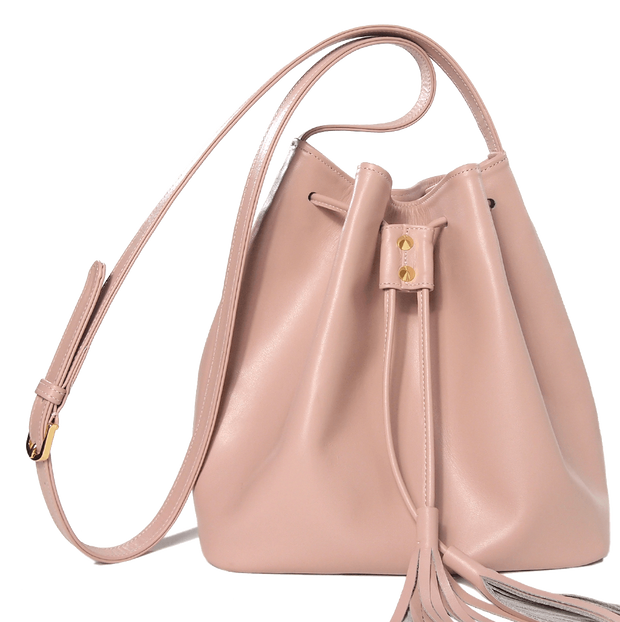 Buffed Calf Leather Bucket Tote Dusty Rose - 72 Smalldive