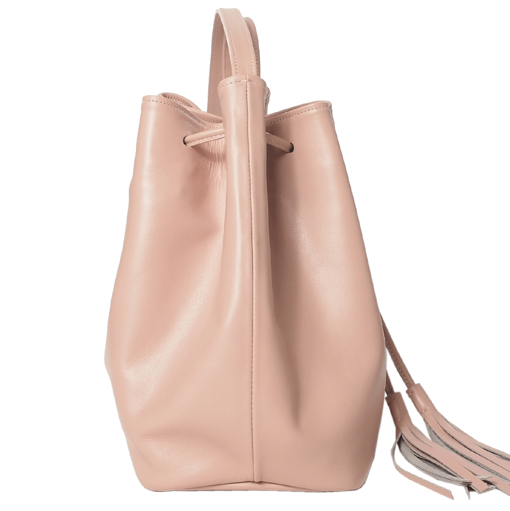 Buffed Calf Leather Bucket Tote Dusty Rose-Handbag-72 Smalldive