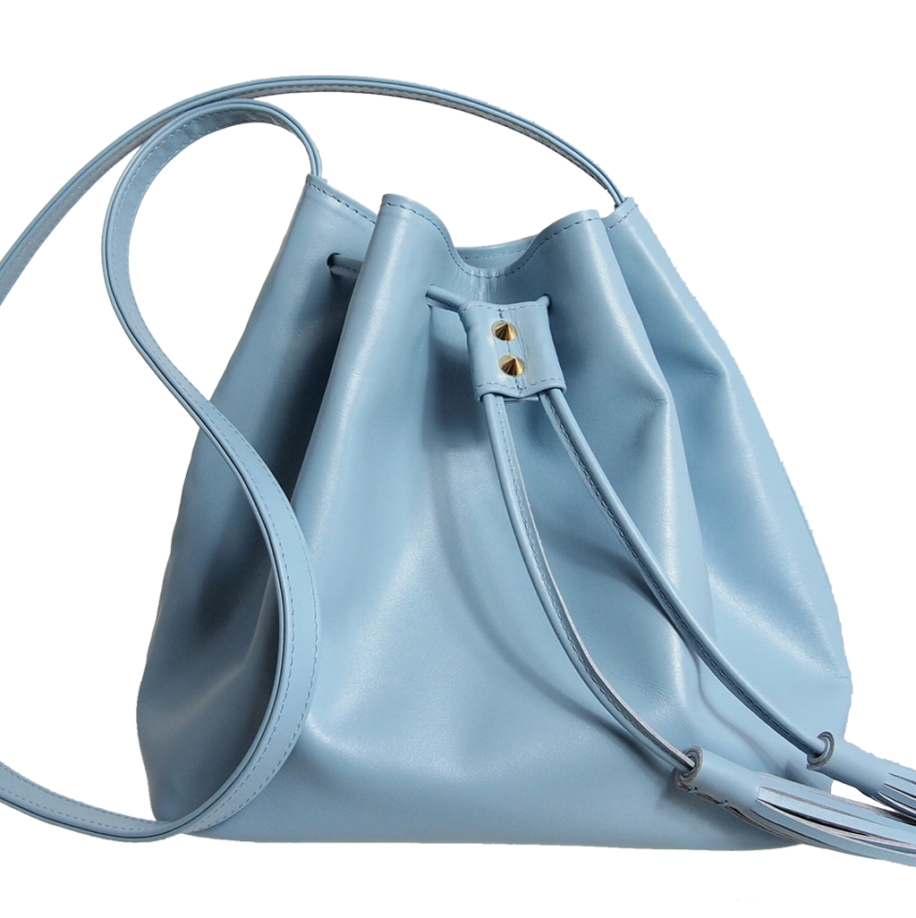 Buffed Leather Bucket Bag Sky-Blue-Crossbody Handbag-72 Smalldive