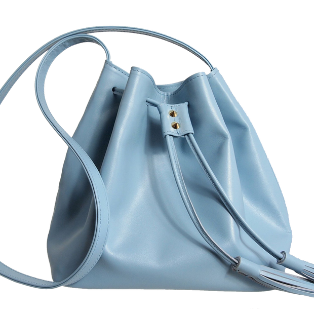 Buffed Calf Leather Bucket Tote Sky - 72 Smalldive