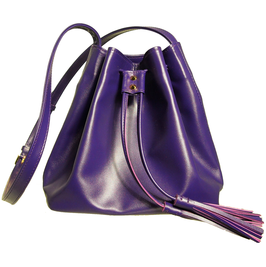 Buffed Leather Bucket Bag Purple-Crossbody Handbag-72 Smalldive