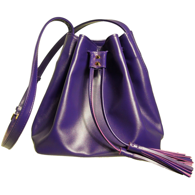 Buffed Calf Leather Bucket Tote Purple-Handbag-72 Smalldive
