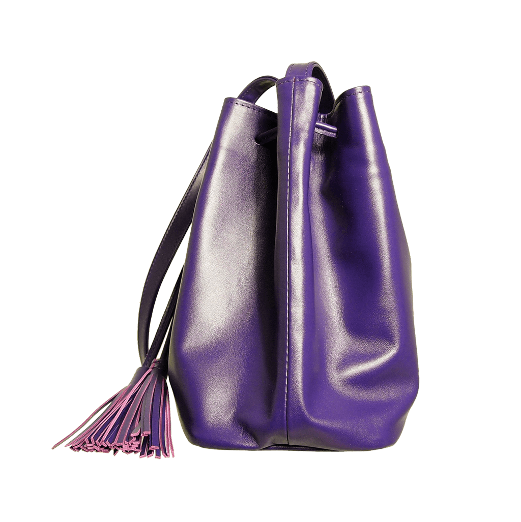 72 Smalldive Crossbody Handbag Buffed Leather Bucket Bag Purple.
