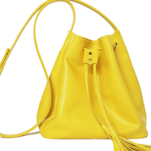 Buffed Leather Bucket Bag Yellow-Handbag-72 Smalldive