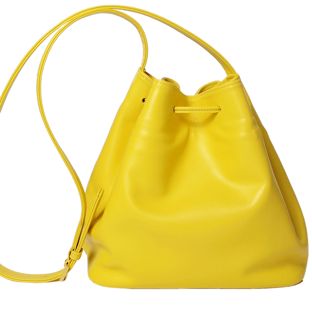 Buffed Calf Leather Bucket Tote Sunflower - 72 Smalldive