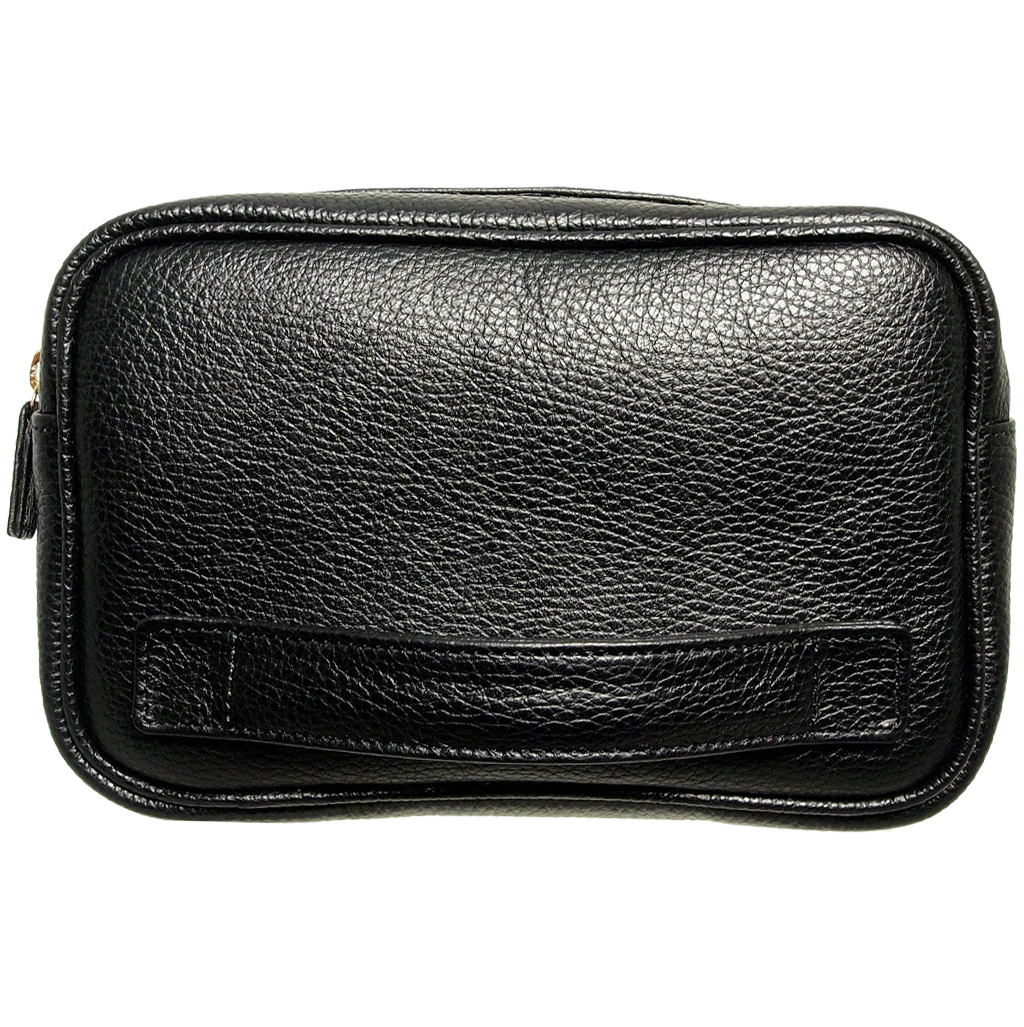 Pebbled Leather Dopp Kit Black-Minis & Pouches-72 Smalldive