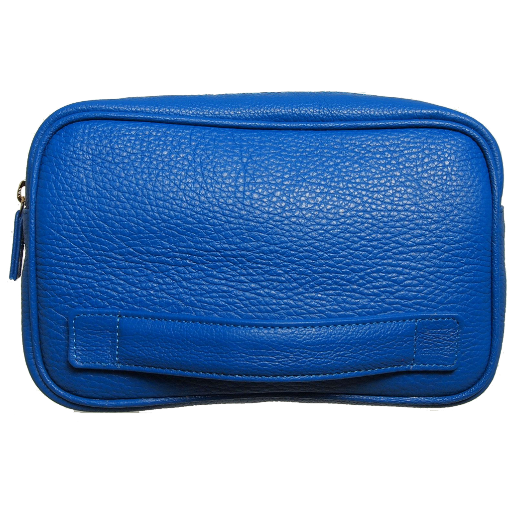 Pebbled Leather Dopp Kit Blue-Minis & Pouches-72 Smalldive