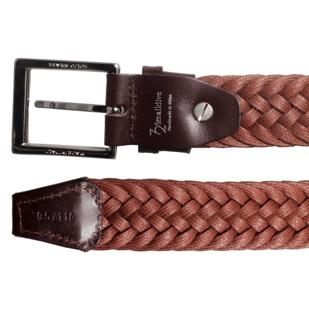34 mm Braided Suede Belt Brown-Mens Belts-72 Smalldive