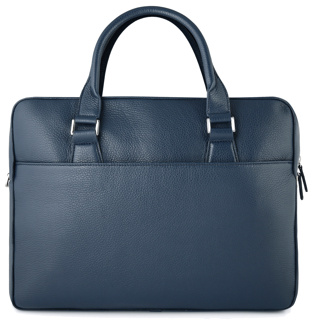 Grained Calf Leather Briefcase Blue-Bags-72 Smalldive