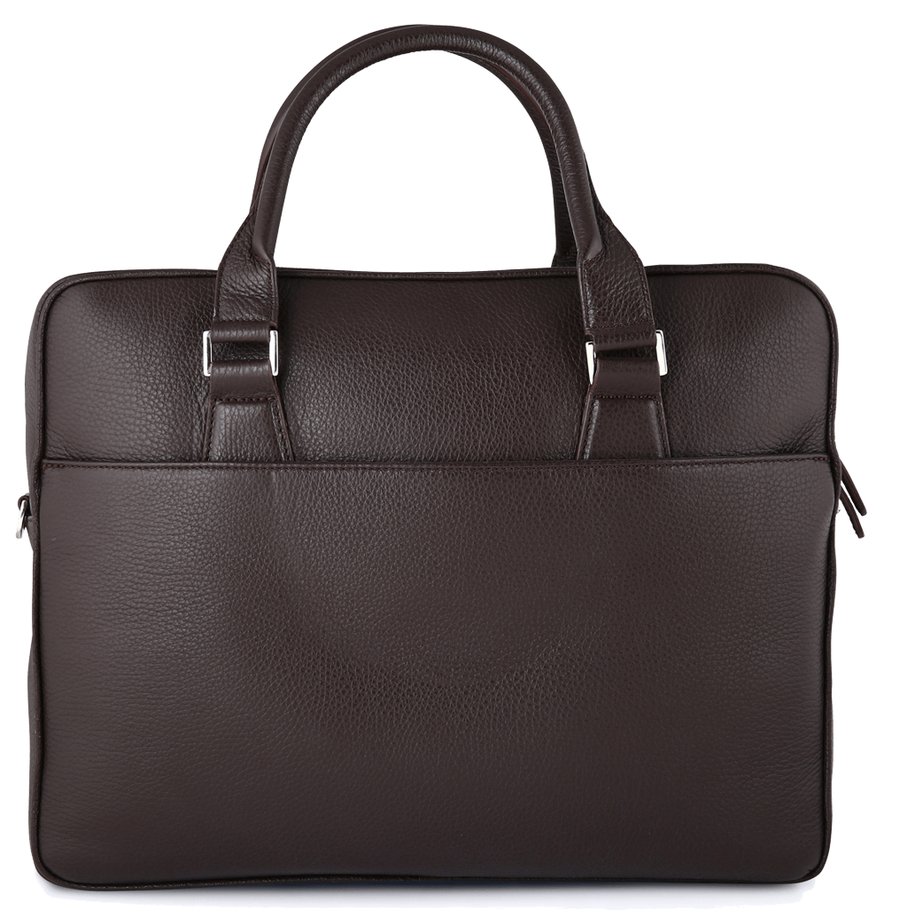 Grained Calf Leather Briefcase Brown-Briefcase & Totes-72 Smalldive