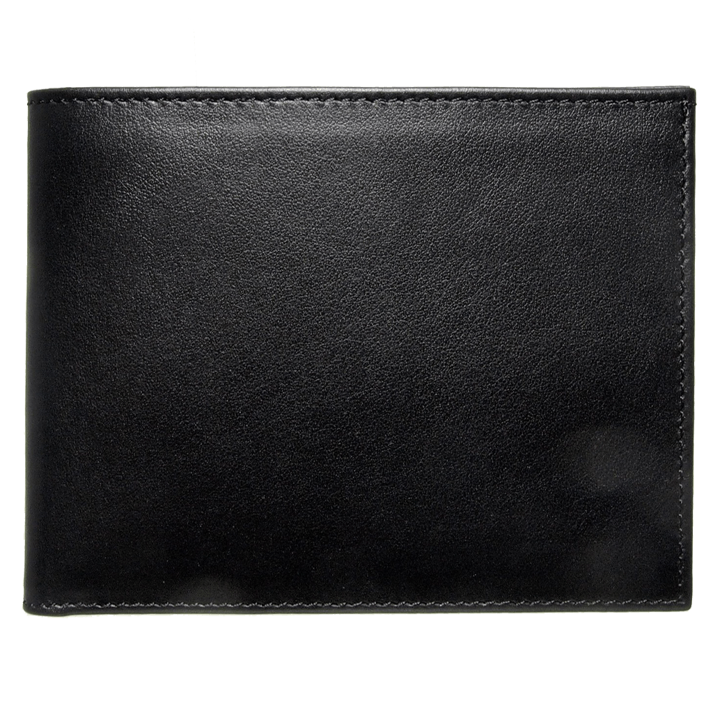 Buffed Calf Leather Billfold Wallet Black - 72 Smalldive